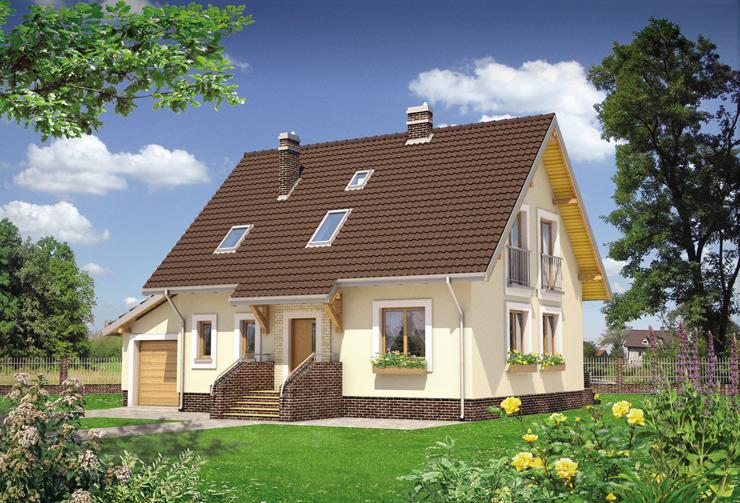 Projekt domu Aga - dom z użytkowym poddaszem i  obramowaniami okien
