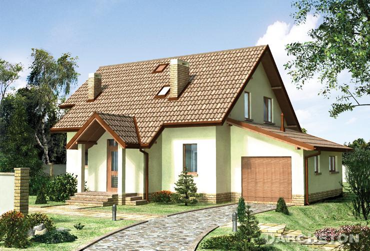 Projekt domu Agat - dom z dobudowanym garażem, z zadaszonym wejściem