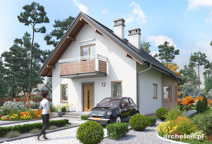 Projekt domu Aldona - dom na wąską działkę, z wejściem od ściany szczytowej