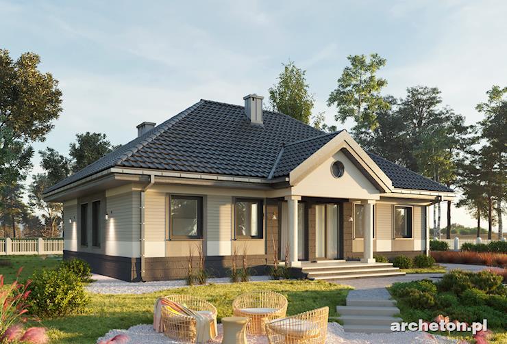 Projekt domu Aleksandria - dom parterowy z stylu dworkowym, pokryty dachem czterospadowym