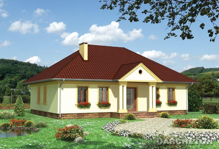 Projekt domu Aleksandria - dworkowy dom parterowy, pokryty dachem czterospadowym