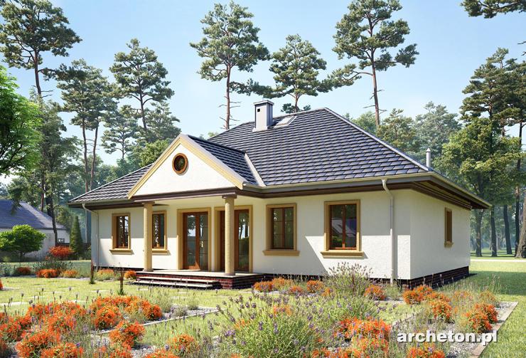 Projekt domu Aleksandria Bona - dom parterowy w stylu dworkowym, z symetrycznym rozkładem okien