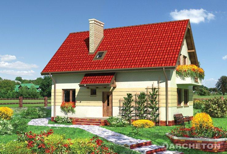Projekt domu Alfa - zgrabny, przytulny domek, z obszernym salonem i dużą kuchnią