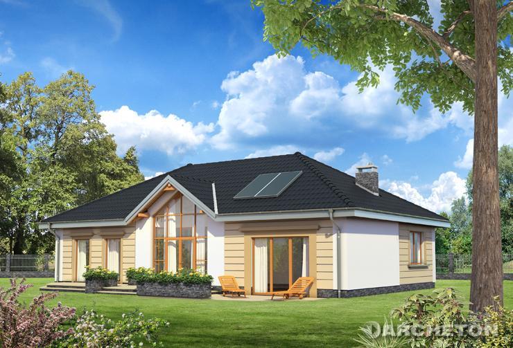 Projekt domu Allegro Eko - energooszczędny dom parterowy, z przeszkloną oranżerią