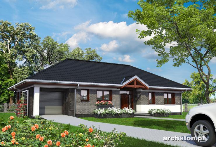 Projekt domu Allegro con Mobile - nowoczesny dom parterowy z garażem, z dużym przeszkleniem w salonie