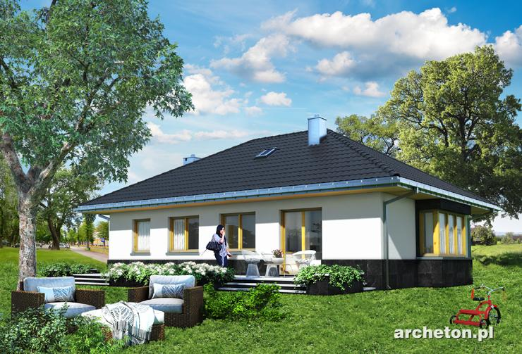Projekt domu Amadej Piano - dom parterowy do 100 m2, pokryty dachem czterospadowym