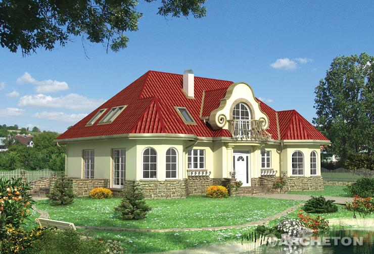 Projekt domu Amadeusz - dom z ozdobnym zwieńczeniem szczytu i kutą balustradą