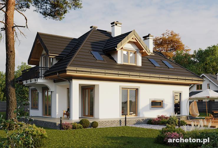 Projekt domu Amanda - dom z dużym tarasem, z kotłownią z dwoma wejściami