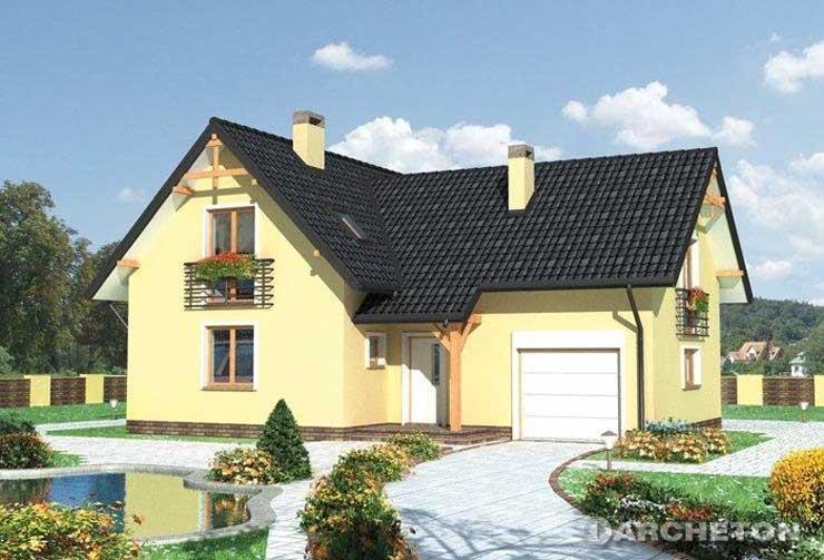Projekt domu Amarylis - dom na planie litery T, z garażem