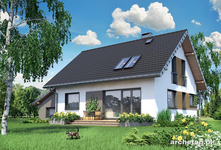 Projekt domu Amelia - niewielki dom z wysuniętym wiatrołapem i podcieniem wejścia