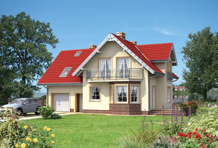 Projekt domu Ametyst - urodziwy dom, z wjazdem od południa