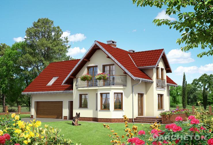 Projekt domu Ametyst G2 - dom z garażemvna dwa samochody, z wejściem od południowej strony