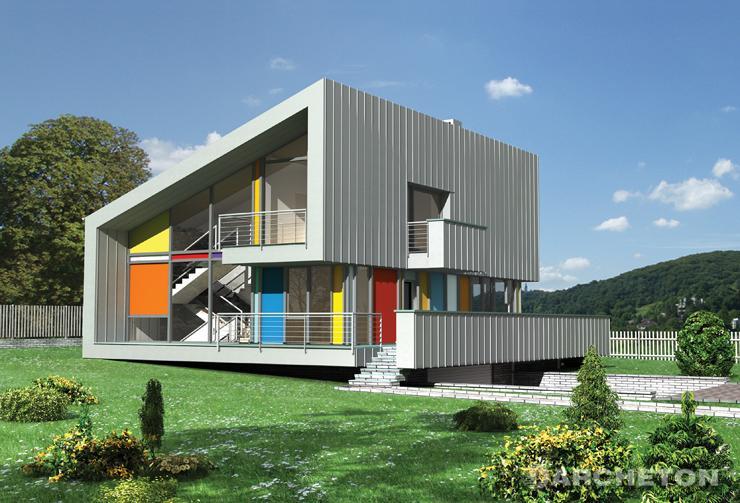 Projekt domu Amon - orginalny i nowoczesny dom z dużą ilością przeszkleń
