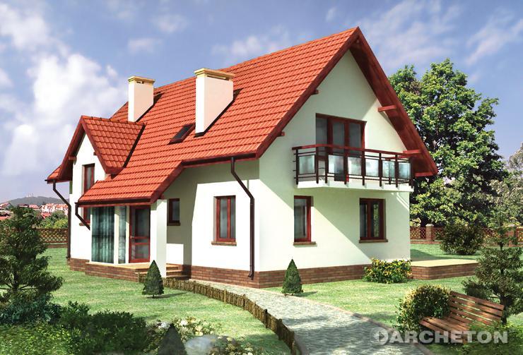 Projekt domu Andromeda - dom nakryty dachem dwuspadowym z lukarną klatki schodowej