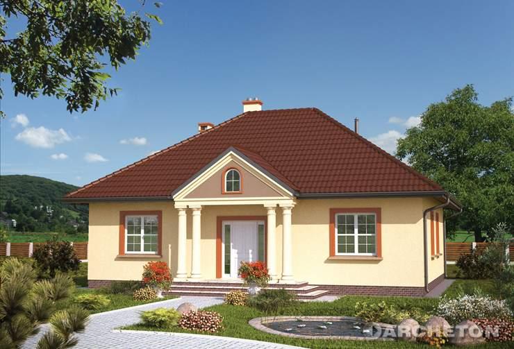 Projekt domu Aneta - dom parterowy, nawiązujący do tradycji dworkowej, z kolumnami od frontu