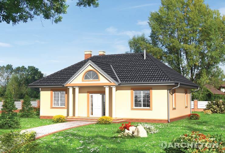 Projekt domu Aneta - dom parterowy, z kolumnami od frontu