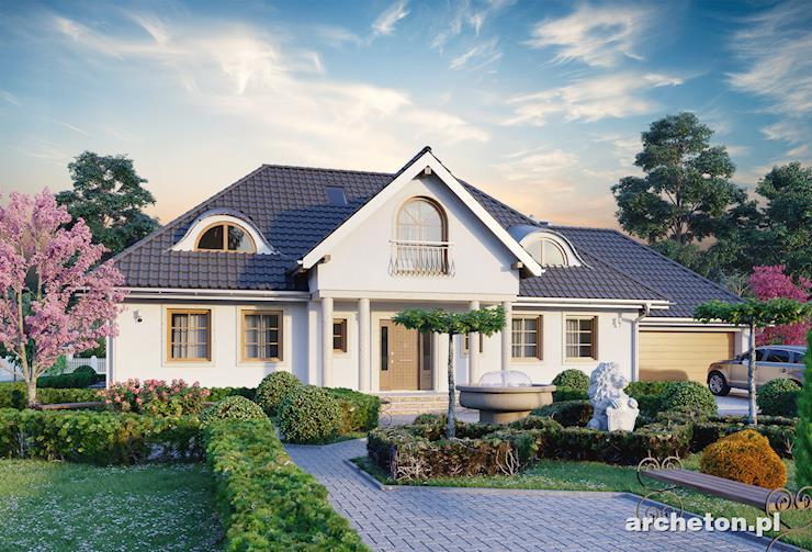 Projekt domu Anielski Dwór - piękny, dworkowy dom, z garażem dwustanowiskowym