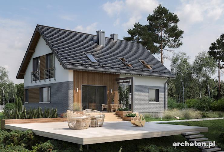 Projekt domu Anna - dom z użytkowym poddaszem, całkowicie podpiwniczony