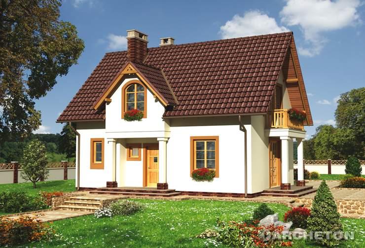 Projekt domu Antałek - tradycyjny dom, z balkonem wspartym kolumnami