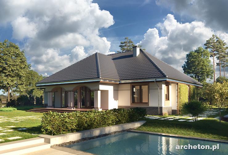 Projekt domu Arkadia - dom z arkadowymi podcieniami od frontu i na tarasie ogrodowym
