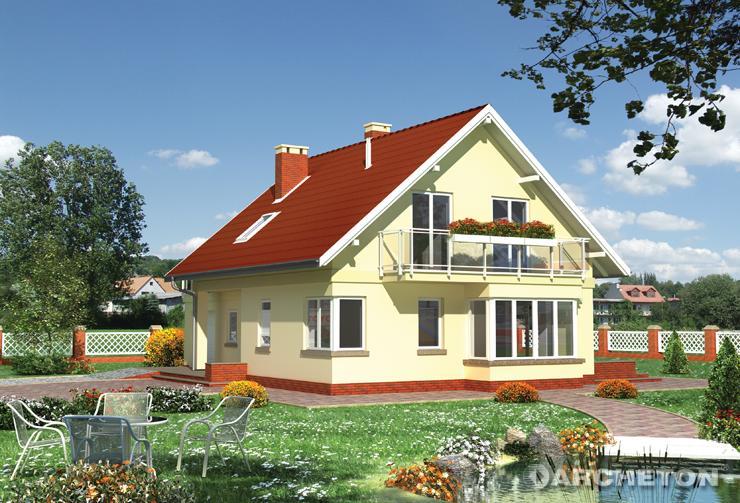 Projekt domu Arletta - dom z tarasem nad garażem i sauną na poddaszu
