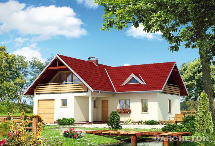 Projekt domu Aronia - dom na rzucie litery T przykryty dachem dwuspadowym