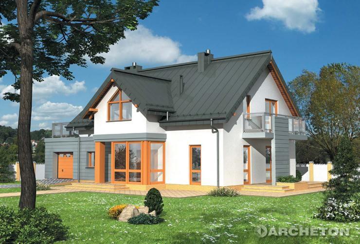 Projekt domu Arsen - dom z otwartą do poddasza przestrzenią, z ukośnym biegiem schodów