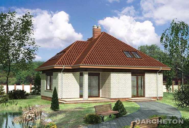 Projekt domu Artemon - dom z czterospadowym dachem, bryła urozmaicona podcieniami