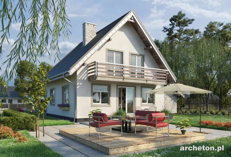Projekt domu Aster Neo - dom z wejściem od ściany szczytowej, z garażem dostawionym do bryły