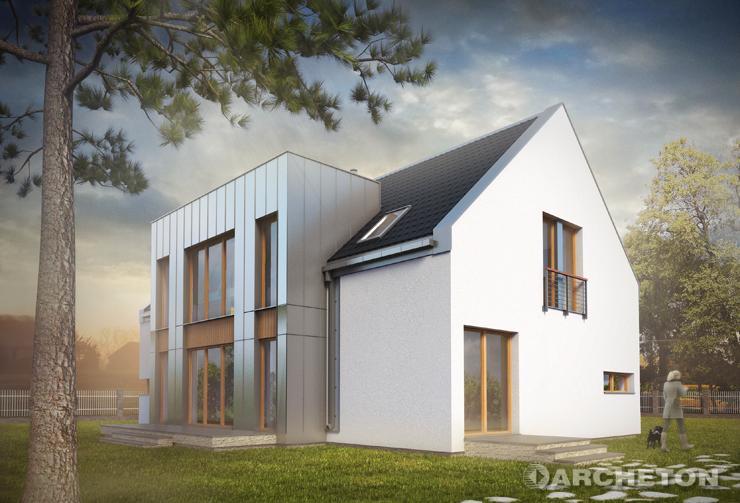 Projekt domu Astryda - nowoczesny duży dom, z dachem dwuspadowym, bez okapów