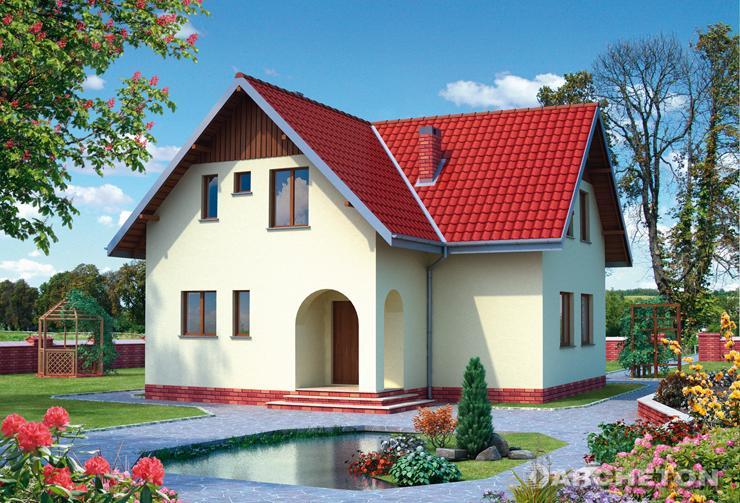 Projekt domu Atol - dom z wejściem przez podcień podkreslony łukiem, z loggią na poddaszu