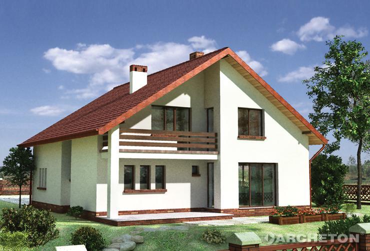 Projekt domu Atut - dom na rzucie zbliżonym do kwadratu, przykryty dachem dwuspadowym