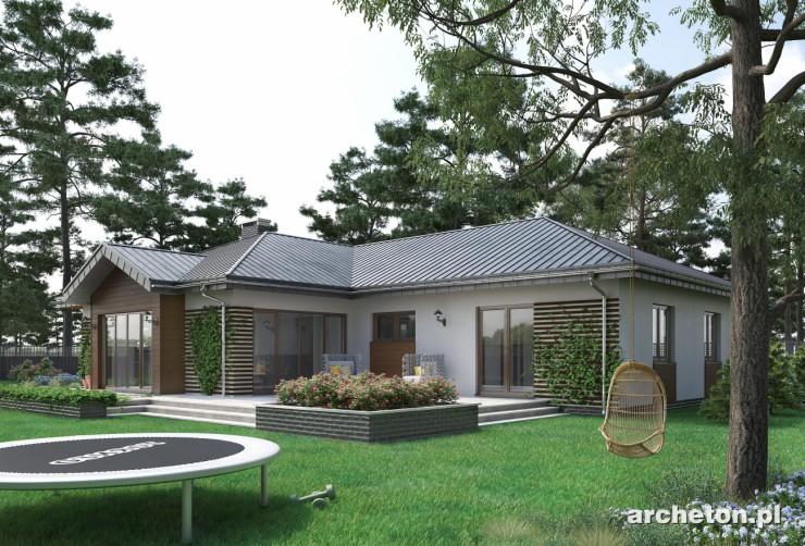 Projekt domu Aurelia - atrakcyjny dom parterowy z garażem dwustanowiskowym, z dużym tarasem