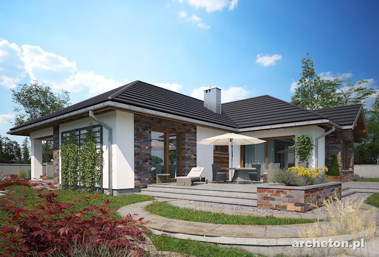 Projekt domu Aurelia Polo - przestronny dom parterowy z zadaszonym wejściem i dużym tarasem