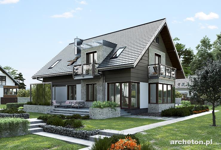 Projekt domu Axel - piękny, nowoczesny dom z dużym tarasem od strony ogrodu