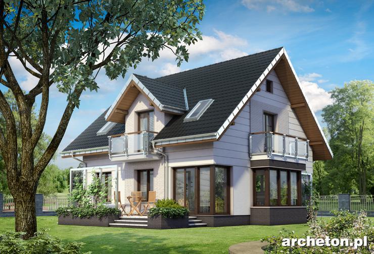 Projekt domu Axel Polo - ciekawy dom z przeszkloną jadalnią i salonem z wejściem na taras