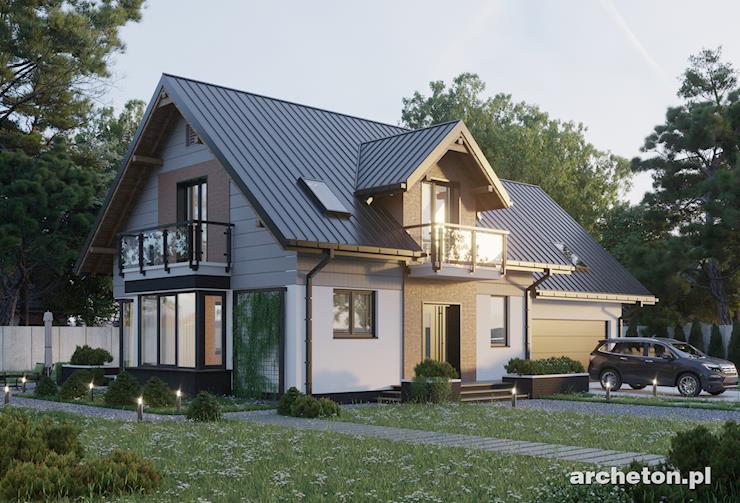 Projekt domu Axel Rex - nowoczesny dom z przeszkleniami, z przestronnym salonem i garażem na dwa samochody