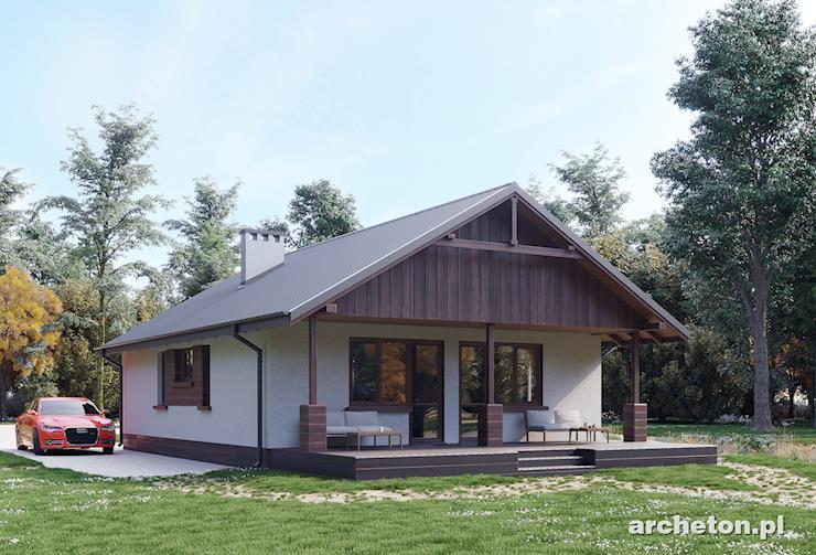 Projekt domu Baba Jaga - nieduży dom z symetrycznym, dwuspadowym dachem