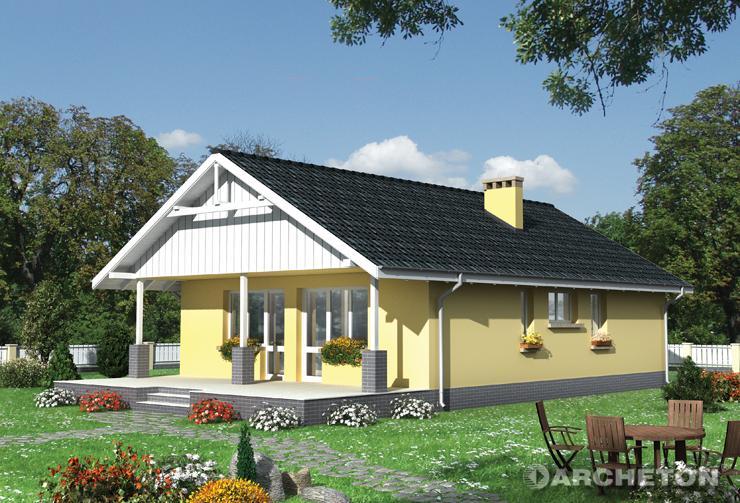 Projekt domu Baba Jaga - mały dom parterowy z przestronnym tarasem