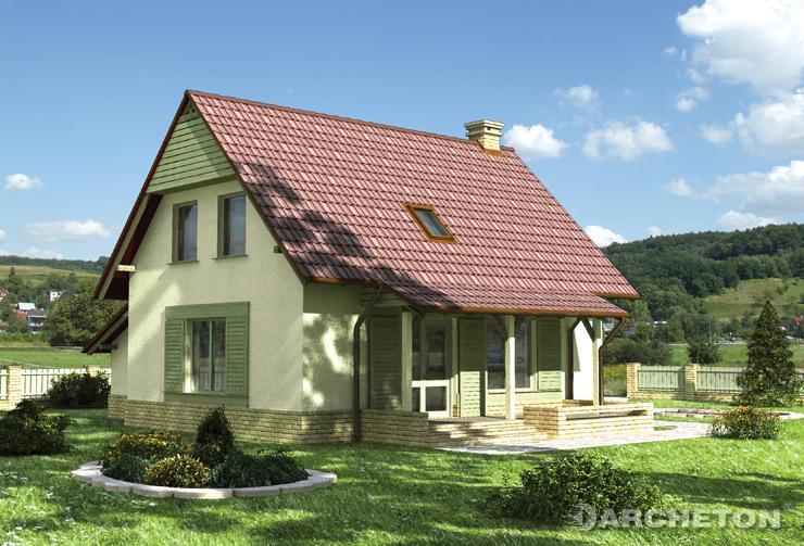 Projekt domu Balbina - dom z wejściem zaakcentowanym narożnym podcieniem