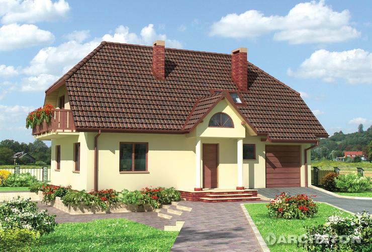 Projekt domu Bartosz - dom z podziałem na część dzienną i gospodarczą