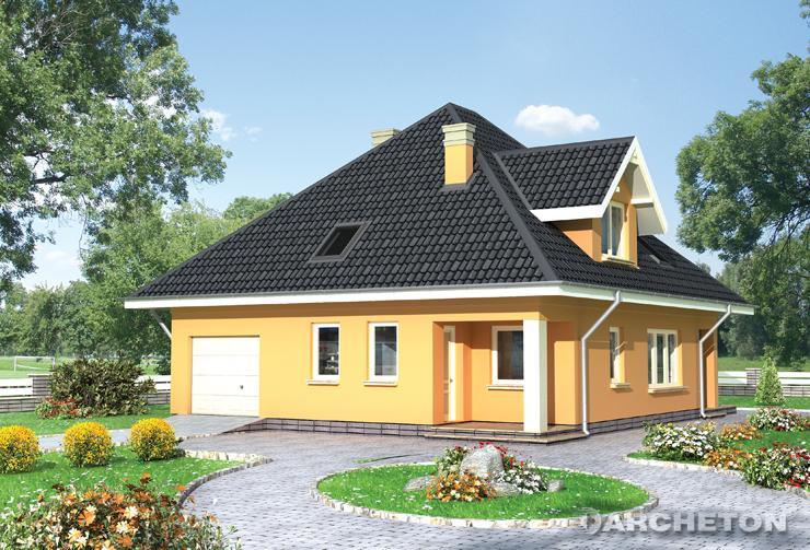 Projekt domu Bazylia - dom z przestronnym pokojem dziennym i tarasem