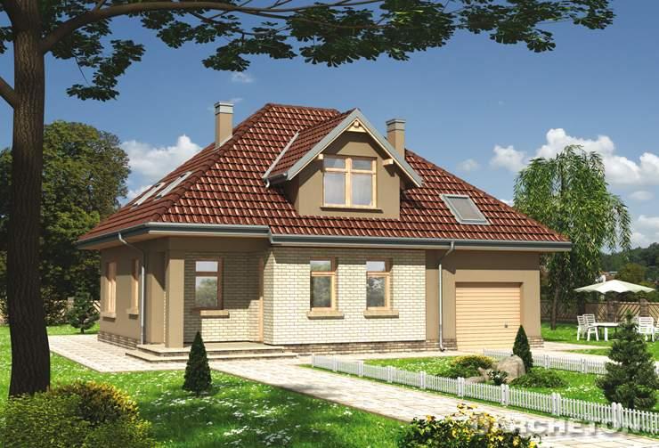 Projekt domu Benon - dom jednorodzinny z garderobę dostępną z sieni wejściowej