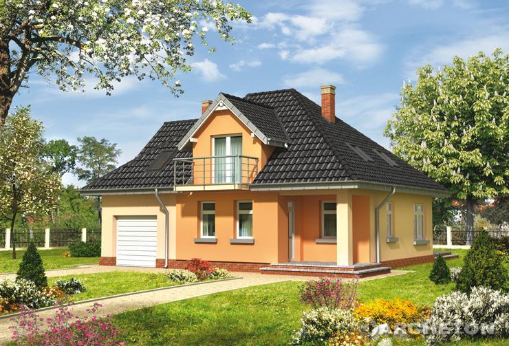 Projekt domu Benon-2 - dom z użytkowym poddaszem i obszernym tarasem w ogrodzie