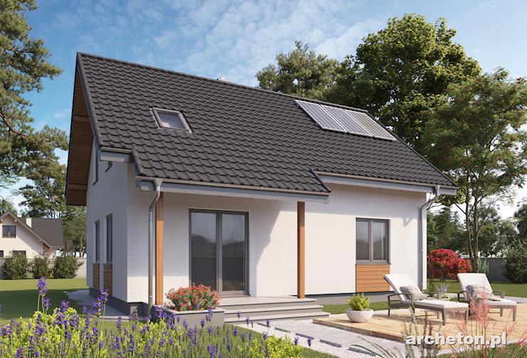 Projekt domu Berta - mały, domek z kamiennymi akcentami elewacji
