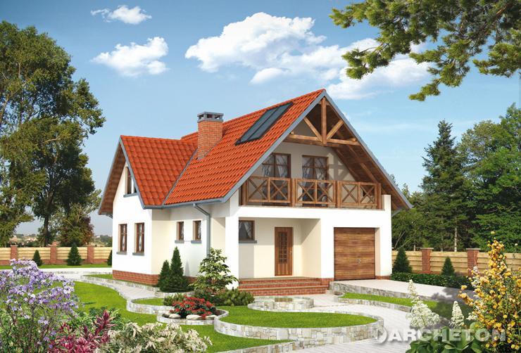 Projekt domu Beryl - malowniczy dom z obszernym balkonem nad wejściem i garażem