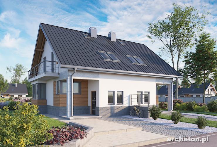 Projekt domu Beza Duo - dom bliźniaczy z użytkowym poddaszem, z tarasem od ogrodu