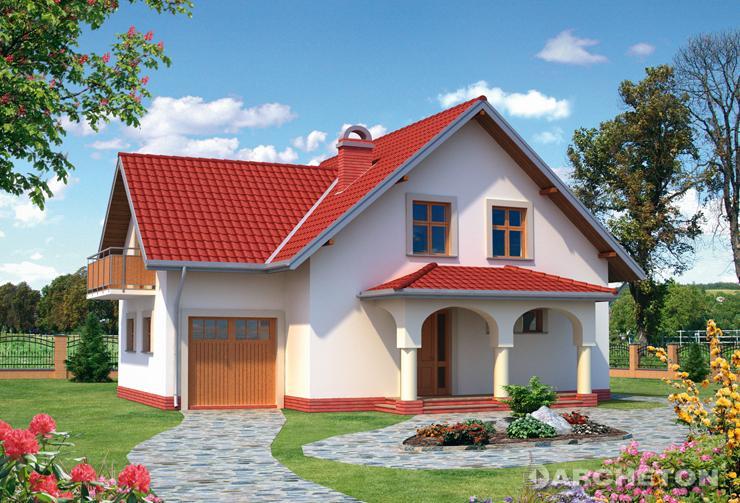 Projekt domu Bianka - dom z garażem dostępnym z poziomu terenu i podcieniem wejściowym