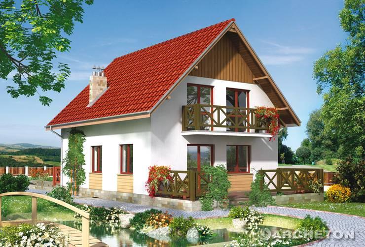 Projekt domu Biedronka - nieduży dom z pokojem dziennym otwartym na hol i jadalnię