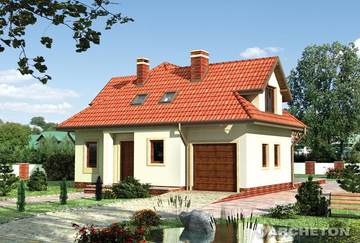 Projekt domu Bielik - dom urozmaicony lukarnami i ryzalitami oraz podcieniem od strony ogrodu